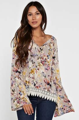 Love Stitch Floral Bell Sleeve