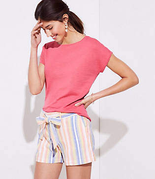 LOFT Petite Striped Tie Waist Shorts