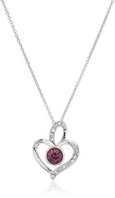 Swarovski Platinum Plated Sterling Silver Crystal Amethyst Color Birthstone Heart Pendant Necklace