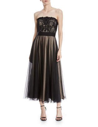 Catherine Deane Kayson Graphic Lace Strapless Midi Dress