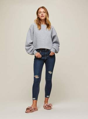 Miss Selfridge Petite lizzie super high skinny dark blue busted hem jeans
