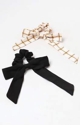 La Hearts Black Tie Scrunchie 2-Pack