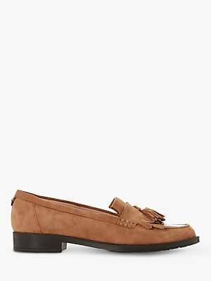 Dune Greatly Tassel Suede Loafers, Camel