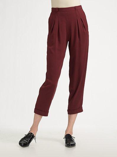 Z Spoke by Zac Posen Cropped Silk Trousers