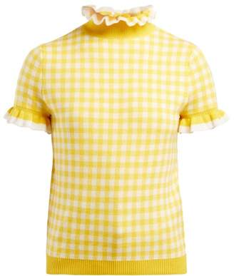Shrimps - Gingham Ruffle Short Sleeved Sweater - Womens - Yellow