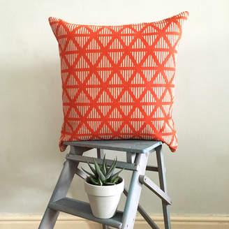 Lara Görlach Screen Printed Geometric Triangle Stripe Cushion