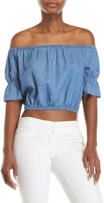 Love Tree Off-the-Shoulder Cropped Chambray Top