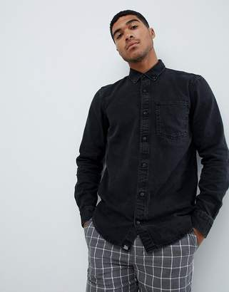 Pull&Bear Denim Shirt In Black