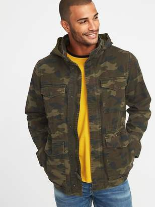 Old Navy Built-In Flex Stowaway-Hood Camo Military Jacket for Men
