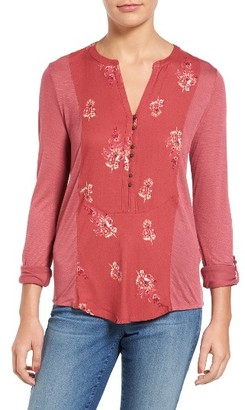 Women's Lucky Brand Print Woven Front Knit Henley Top $49.50 thestylecure.com