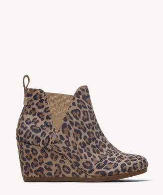 Toms Women's Kelsey Wedges Bootie Desert Tan Leopard Size 10 Suede From Sole Society