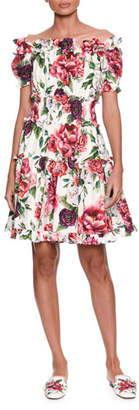 Dolce & Gabbana Off-the-Shoulder Short-Sleeve Rose & Peony-Print Cotton Poplin Dress