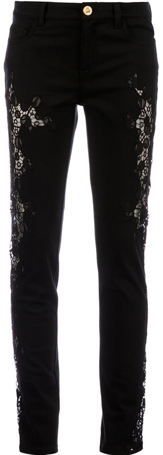 Versace lace panel jean