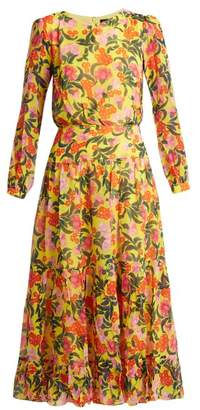 Saloni Isabel Floral Print Silk Dress - Womens - Yellow Multi