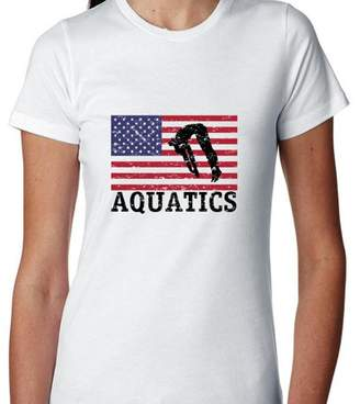 Hollywood Thread USA Olympic - Aquatics - Vintage Flag - Silhouette Women's Cotton T-Shirt