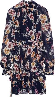 Nicholas Ruffle-trimmed Floral-print Silk-georgette Mini Dress