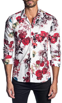 Jared Lang Men's Long-Sleeve Floral Print Sport Shirt