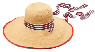 Filù Hats Filu Hats - Arenal Wide Brimmed Straw Hat - Womens - Red White