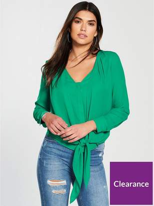 Very Tie Front Blouse - Green
