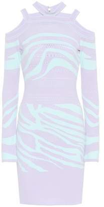 Roberto Cavalli Cutout zebra sweater dress