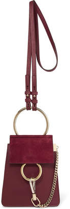 Chloé Faye Bracelet Leather And Suede Shoulder Bag - Burgundy