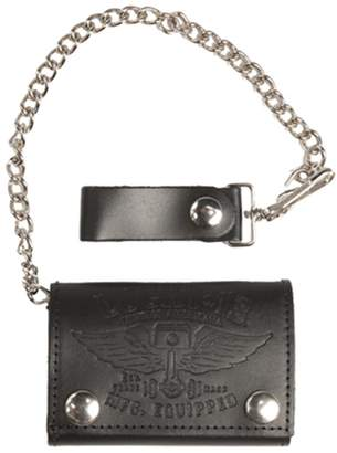 Lucky Brand LUCKY 13 Winged Piston Embossed Tri-Fold Leather Wallet With Chain NEW