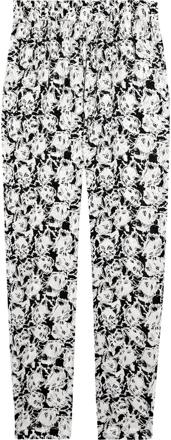Paul & Joe Poum cat-print silk-crepe pants