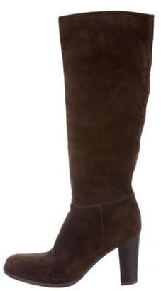 Prada Suede Knee-High Boots Brown Suede Knee-High Boots