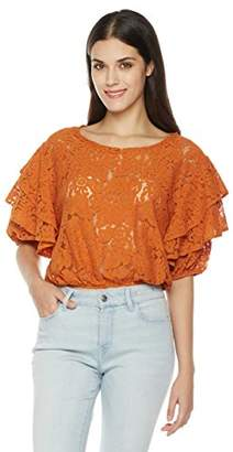 Painted Heart Women's Tie Half Sleeve Scoop Neck Lace Blouse X Small