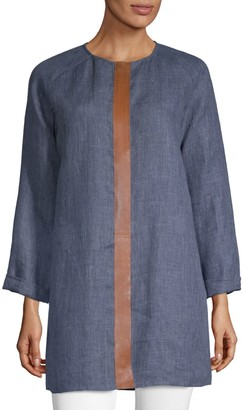 Lafayette 148 New York Leather Trim Tunic Top