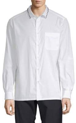 Valentino Studded Cotton Button-Down Shirt