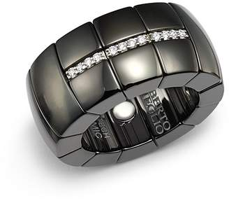 Luce Roberto Demeglio 18K White Gold & Black Ceramic Domino Stretch Ring with Diamonds