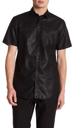 BERTO ROMANI Tonal Mini Dot Printed Short Sleeve Regular Fit Shirt