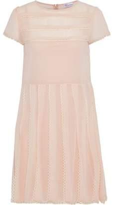 RED Valentino Lace-trimmed Pleated Chiffon Mini Dress
