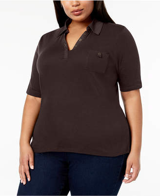 Karen Scott Plus Size Studded Polo Shirt