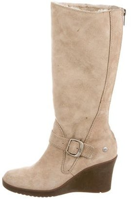 UGG Australia Shearling Wedge Boots $95 thestylecure.com