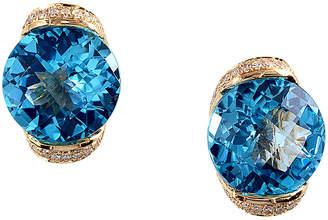 Effy Fine Jewelry 14K 7.39 Ct. Tw. Diamond & Blue Topatz Drop Earrings