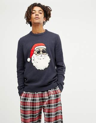 ONLY & SONS christmas sweater with santa flock design