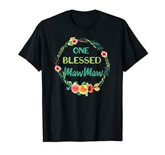 One Blessed MawMaw Grandma Cute Floral Wreath T Shirt Gifts