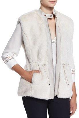 Rebecca Taylor Faux-Fur Leather-Trim Drawstring Vest, Polar Bear White $550 thestylecure.com