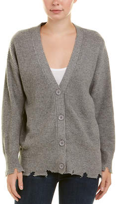 Central Park West Distressed Wool-Blend Cardigan