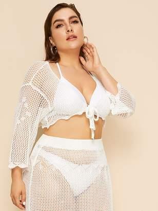 Shein Plus Crochet Sheer Cover Up Without Bikini & Skirt