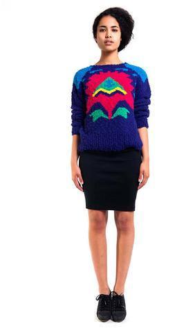 Denim Refinery Geometric Tulip Textured Sweater