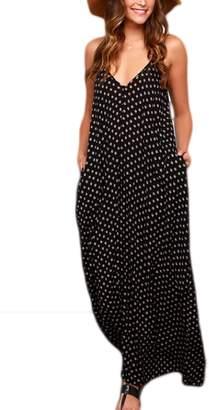 Mupoduvos Women Summer Hot Polka Dot Spaghetti Straps Bohemian Beach Cami Maxi Dress XS