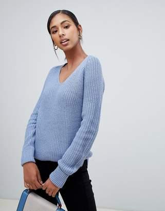 Brave Soul v-neck half cardigan knit jumper with turn back cuff