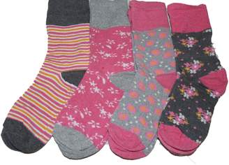 Exquisite Form 4 pairs Non Elastic womens pink and grey socks