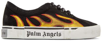 Palm Angels Black Distressed Flame Sneakers