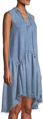 Catherine Malandrino Tie-Neck High-Low Chambray Dress