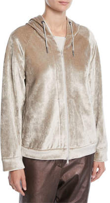 Brunello Cucinelli Zip-Front Velvet Hooded Jacket
