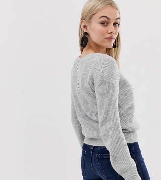 Miss Selfridge Petite sweater with pearl back detail in gray